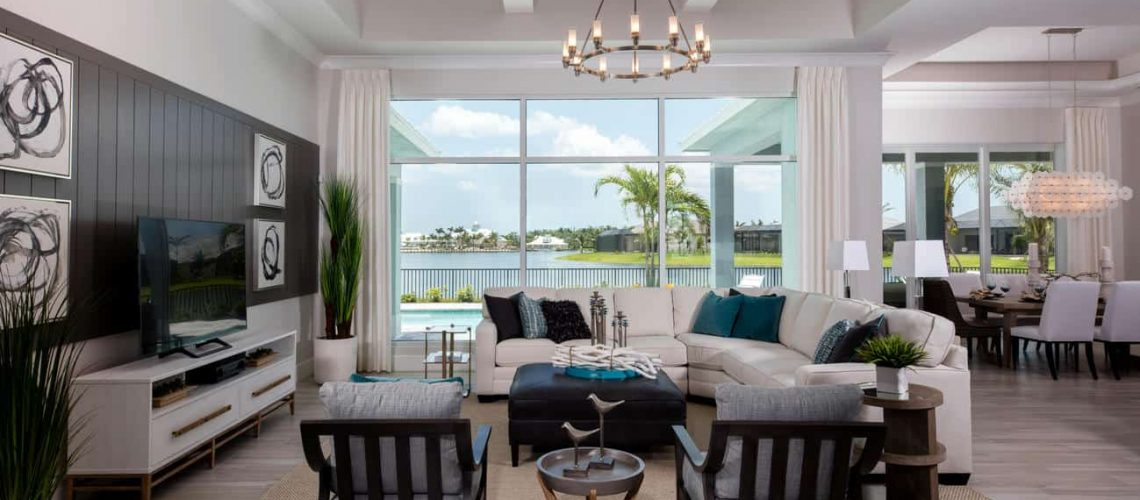 Many of Florida Lifestyle Homes' properties offer waterfront living with beautiful views, such as the Key Largo at Naples Reserve, shown here.